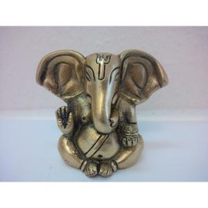 Ganesha lange Ohren 2 Arme aus Messing..